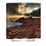 after the storm at La Corbiere Shower Curtain by Meirion Matthias