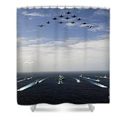 Aircraft Fly Over A Group Of U.s Shower Curtain by Stocktrek Images