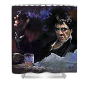 Al Pacino Snow Shower Curtain by Ylli Haruni