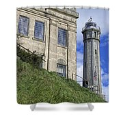 Alcatraz Cell House And Lighthouse Shower Curtain by Daniel Hagerman