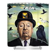 Alfred Hitchcock Shower Curtain by Leah Saulnier The Painting Maniac
