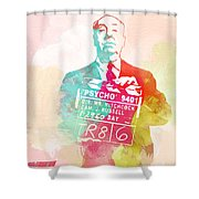 Alfred Hitchcock Shower Curtain by Naxart Studio