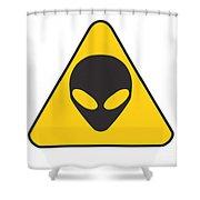Alien Grey Graphic Shower Curtain by Pixel Chimp