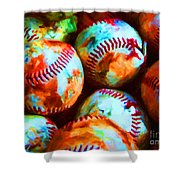 All American Pastime - Pile Of Baseballs - Painterly Shower Curtain by Wingsdomain Art and Photography