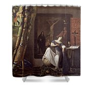 Allegory Of The Faith Shower Curtain by Jan Vermeer