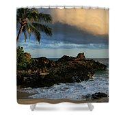 Aloha Naau Sunset Paako Beach Honuaula Makena Maui Hawaii Shower Curtain by Sharon Mau