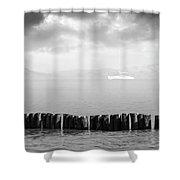 Along The Breakwater Shower Curtain by Wim Lanclus