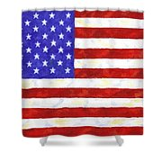 American Flag Shower Curtain by Linda Mears