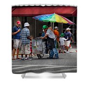 Americana - Mountainside Nj - Buying Ices  Shower Curtain by Mike Savad