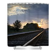Amtrak Railroad System Shower Curtain by Carolyn Marshall