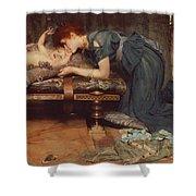 An Earthly Paradise Shower Curtain by Sir Lawrence Alma-Tadema