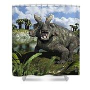 An Estemmenosuchus Mirabilis Stands Shower Curtain by Walter Myers