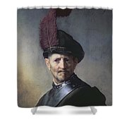 An Old Man in Military Costume Shower Curtain by Rembrandt