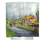 An Old Stone Cottage In Great Britain Shower Curtain by Carol Wisniewski