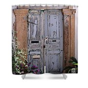 Ancient Garden Doors In Greece Shower Curtain by Sabrina L Ryan