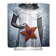 angel with a star Shower Curtain by Joana Kruse