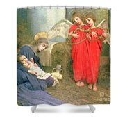 Angels Entertaining The Holy Child Shower Curtain by Marianne Stokes
