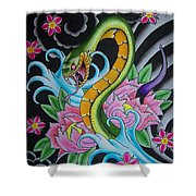 Angry Snake Shower Curtain by Kev G