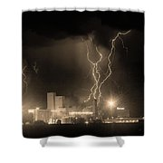 Anheuser-busch On Strikes Black And White Sepia Image Shower Curtain by James BO  Insogna