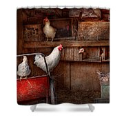 Animal - Chicken - The Duck Is A Spy  Shower Curtain by Mike Savad
