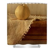 Apple Pear On A Table Shower Curtain by Priska Wettstein