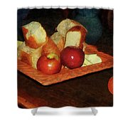 Apples And Bread Shower Curtain by Susan Savad