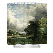 Approaching Storm Clouds Shower Curtain by Thomas Moran