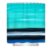 Aqua Sky - Bold Abstract Landscape Art Shower Curtain by Sharon Cummings