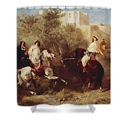 Arab Horsemen Shower Curtain by Eugene Fromentin