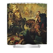 Arab Tribal Chiefs in Single Combat Shower Curtain by Theodore Chasseriau