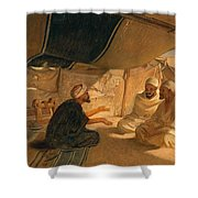 Arabs In The Desert Shower Curtain by Frederick Goodall