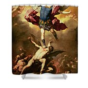 Archangel Michael overthrows the rebel angel Shower Curtain by Luca Giordano