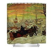 Arriving For The Holidays Shower Curtain by Boris Mihajlovic Kustodiev