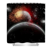Artists Concept Of Cosmic Contrast Shower Curtain by Mark Stevenson
