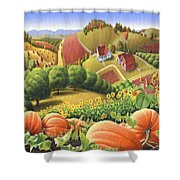 Farm Landscape - Autumn Rural Country Pumpkins Folk Art - Appalachian Americana - Fall Pumpkin Patch Shower Curtain by Walt Curlee
