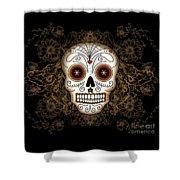 Vintage Sugar Skull Shower Curtain by Tammy Wetzel