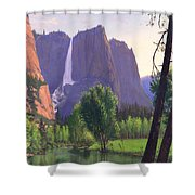 Mountains Waterfall Stream Western Mountain Landscape Oil Painting Shower Curtain by Walt Curlee