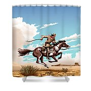 Pony Express Rider Historical Americana Painting Desert Scene Shower Curtain by Walt Curlee