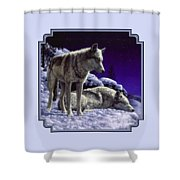 Wolf Painting - Night Watch Shower Curtain by Crista Forest