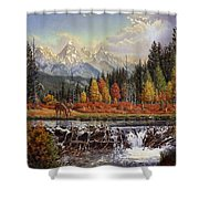 Western Mountain Landscape Autumn Mountain Man Trapper Beaver Dam Frontier Americana Oil Painting Shower Curtain by Walt Curlee
