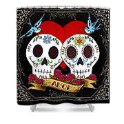 Love Skulls II Shower Curtain by Tammy Wetzel
