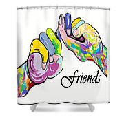 Friends . . . An American Sign Language Painting Shower Curtain by Eloise Schneider