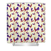 Red Rooster Art Shower Curtain by Christina Rollo