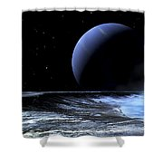 Astronaut Standing On The Edge Shower Curtain by Frank Hettick