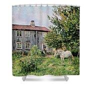 At The Farm Shower Curtain by Gerhard Peter Frantz Vilhelm Munthe