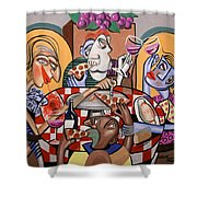 At The Pizzeria Shower Curtain by Anthony Falbo