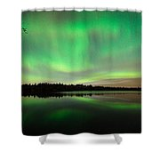 Aurora Over Tofte Lake Shower Curtain by Larry Ricker
