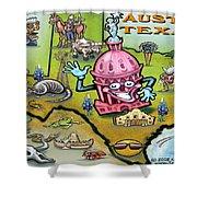 Austin Texas Cartoon Map Shower Curtain by Kevin Middleton