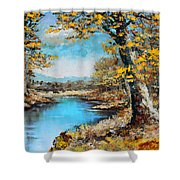 Autumn Gold Shower Curtain by Karon Melillo DeVega