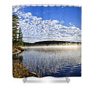 Autumn lake shore with fog Shower Curtain by Elena Elisseeva